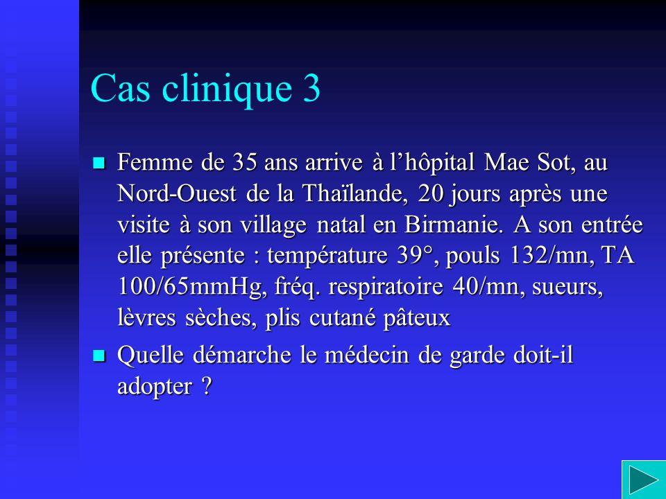 Cas clinique 3 Femme de 35 ans arrive à lhôpital Mae Sot, au Nord-Ouest de la Thaïlande, 20 jours après une visite à son village natal en Birmanie. A