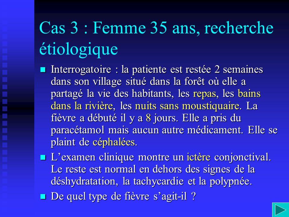 Cas 3 : Femme 35 ans, recherche étiologique Interrogatoire : la patiente est restée 2 semaines dans son village situé dans la forêt où elle a partagé