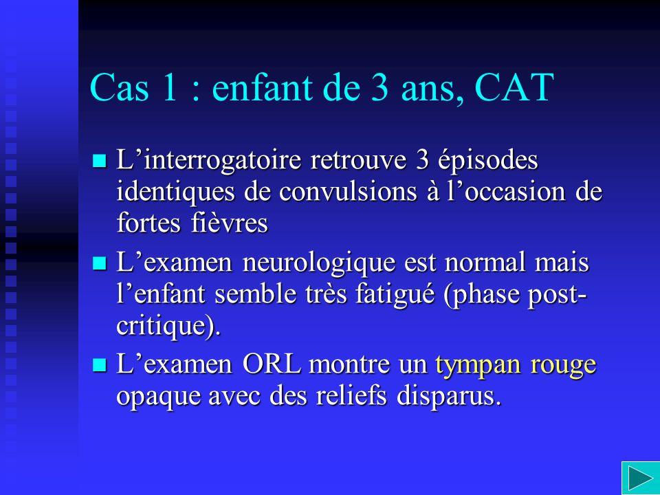 Cas 1 : enfant de 3 ans, CAT Linterrogatoire retrouve 3 épisodes identiques de convulsions à loccasion de fortes fièvres Linterrogatoire retrouve 3 ép