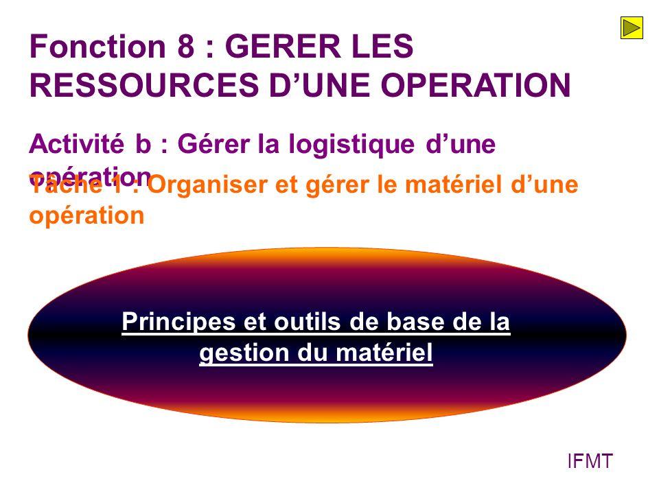 Fonction 8 : GERER LES RESSOURCES DUNE OPERATION Activité b : Gérer la logistique dune opération Principes et outils de base de la gestion du matériel Tâche 1 : Organiser et gérer le matériel dune opération IFMT