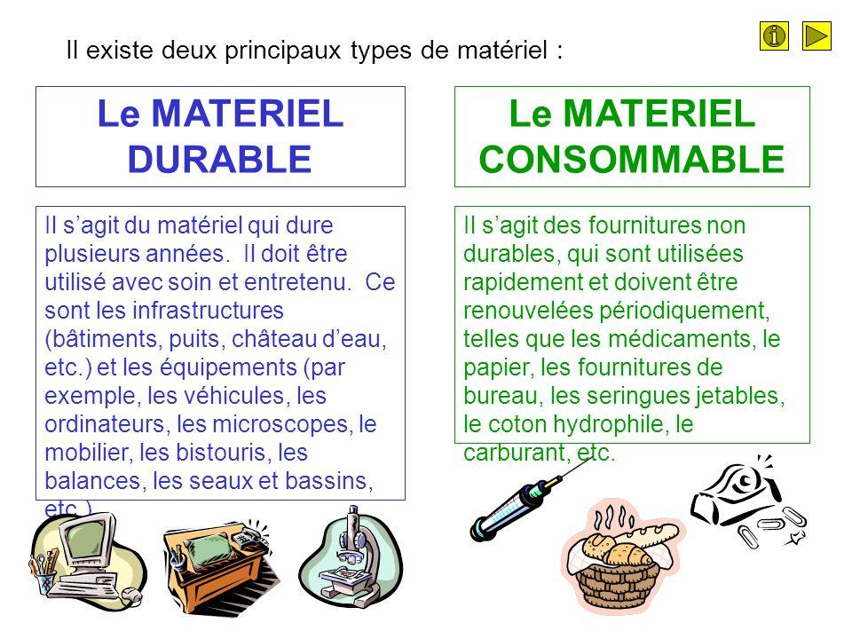 Le MATERIEL DURABLE Le MATERIEL CONSOMMABLE Il sagit du matériel qui dure plusieurs années.