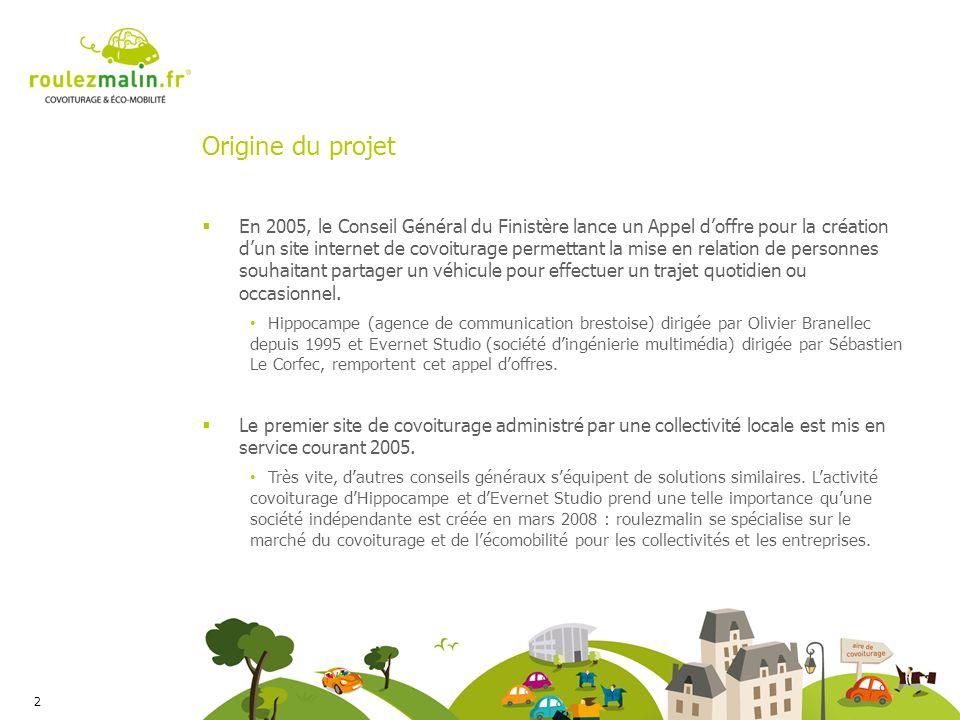 Origine du projet En 2005, le Conseil Général du Finistère lance un Appel doffre pour la création dun site internet de covoiturage permettant la mise en relation de personnes souhaitant partager un véhicule pour effectuer un trajet quotidien ou occasionnel.