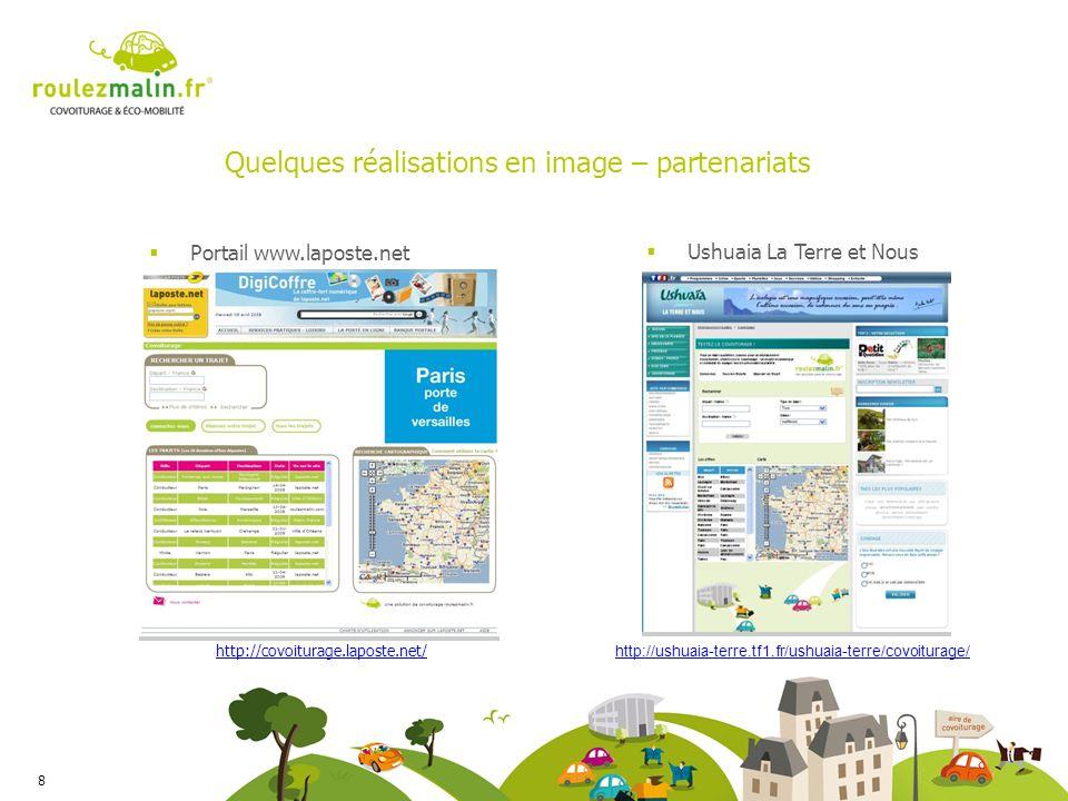 Quelques réalisations en image – partenariats 8 Portail www.laposte.net Ushuaia La Terre et Nous http://ushuaia-terre.tf1.fr/ushuaia-terre/covoiturage/ http://covoiturage.laposte.net/
