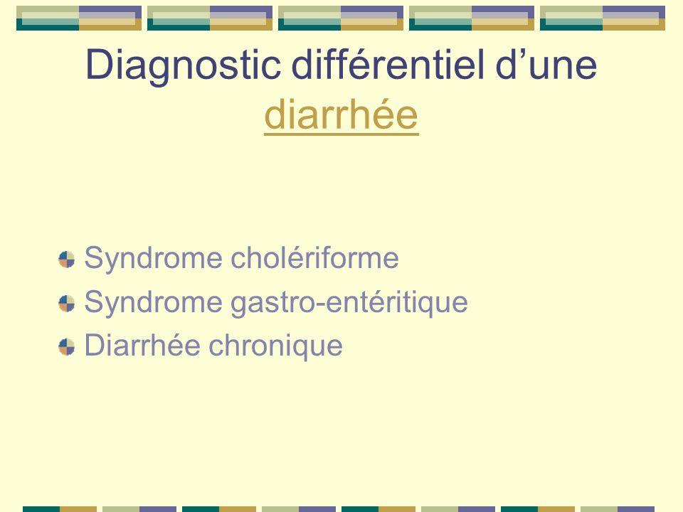 Diagnostic différentiel dune diarrhée diarrhée Syndrome cholériforme Syndrome gastro-entéritique Diarrhée chronique