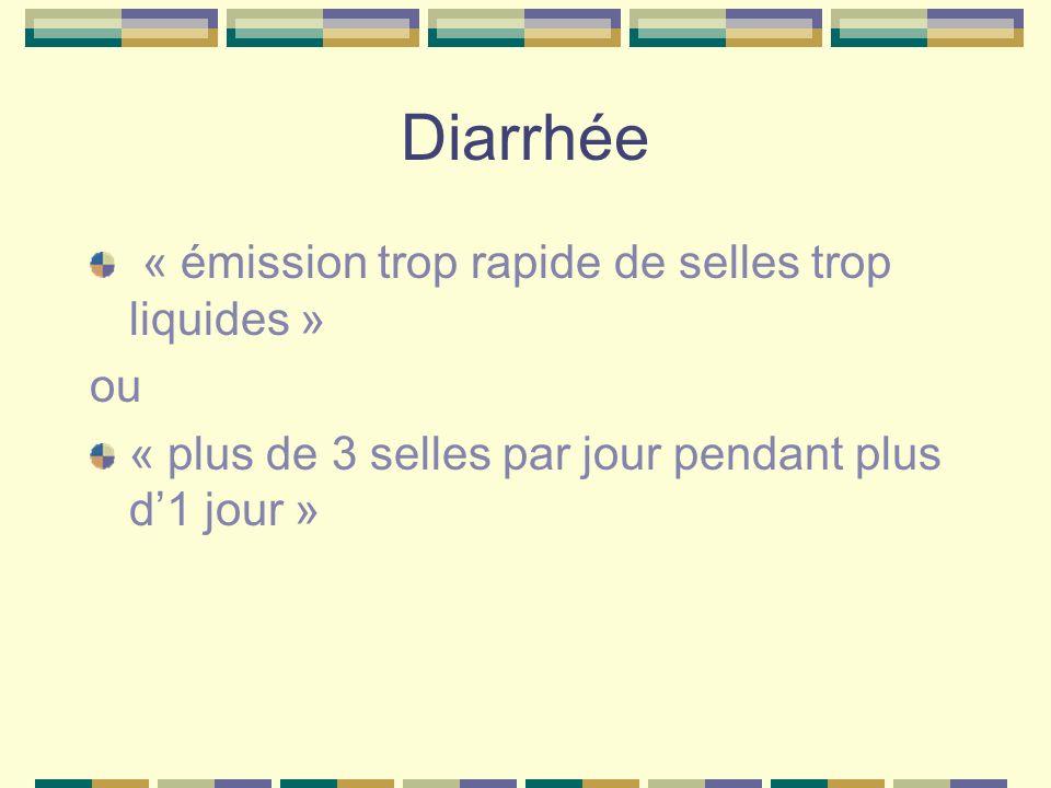 Diarrhée « émission trop rapide de selles trop liquides » ou « plus de 3 selles par jour pendant plus d1 jour »