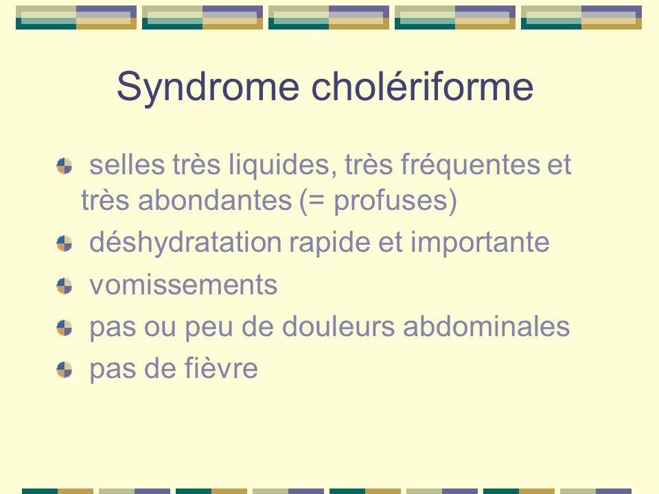 Syndrome cholériforme selles très liquides, très fréquentes et très abondantes (= profuses) déshydratation rapide et importante vomissements pas ou pe