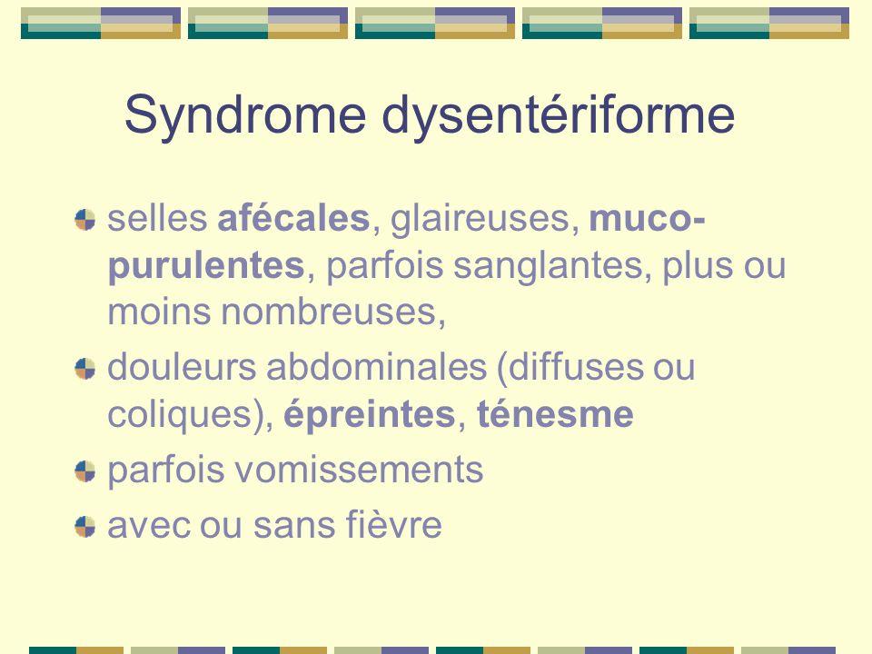 Syndrome dysentériforme selles afécales, glaireuses, muco- purulentes, parfois sanglantes, plus ou moins nombreuses, douleurs abdominales (diffuses ou