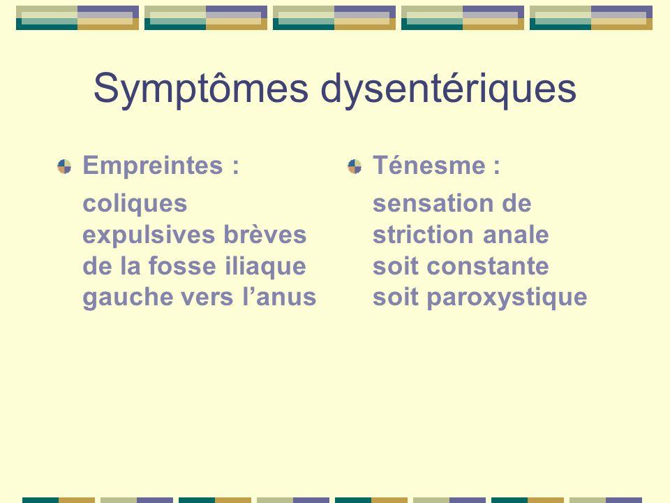 Symptômes dysentériques Empreintes : coliques expulsives brèves de la fosse iliaque gauche vers lanus Ténesme : sensation de striction anale soit cons