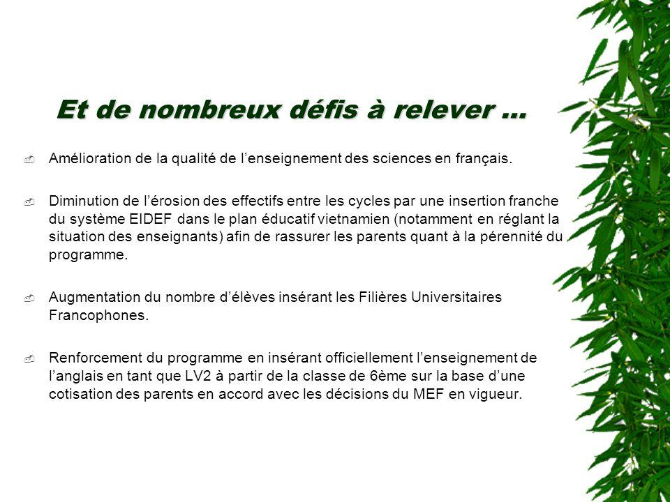 Et de nombreux défis à relever … Amélioration de la qualité de lenseignement des sciences en français.