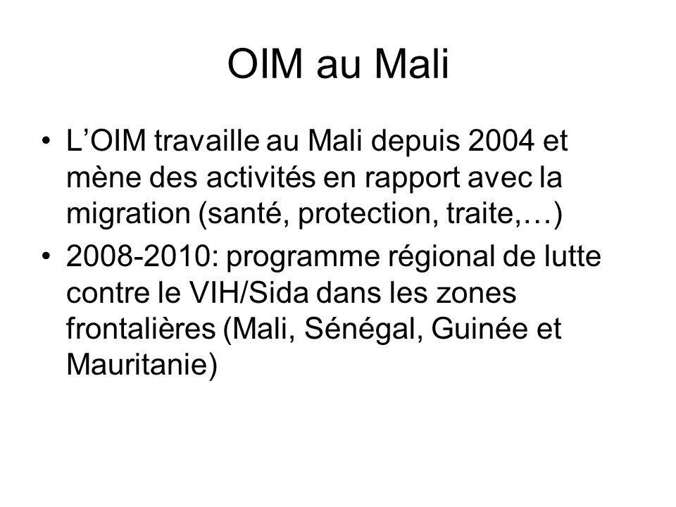 OIM au Mali LOIM travaille au Mali depuis 2004 et mène des activités en rapport avec la migration (santé, protection, traite,…) 2008-2010: programme régional de lutte contre le VIH/Sida dans les zones frontalières (Mali, Sénégal, Guinée et Mauritanie)