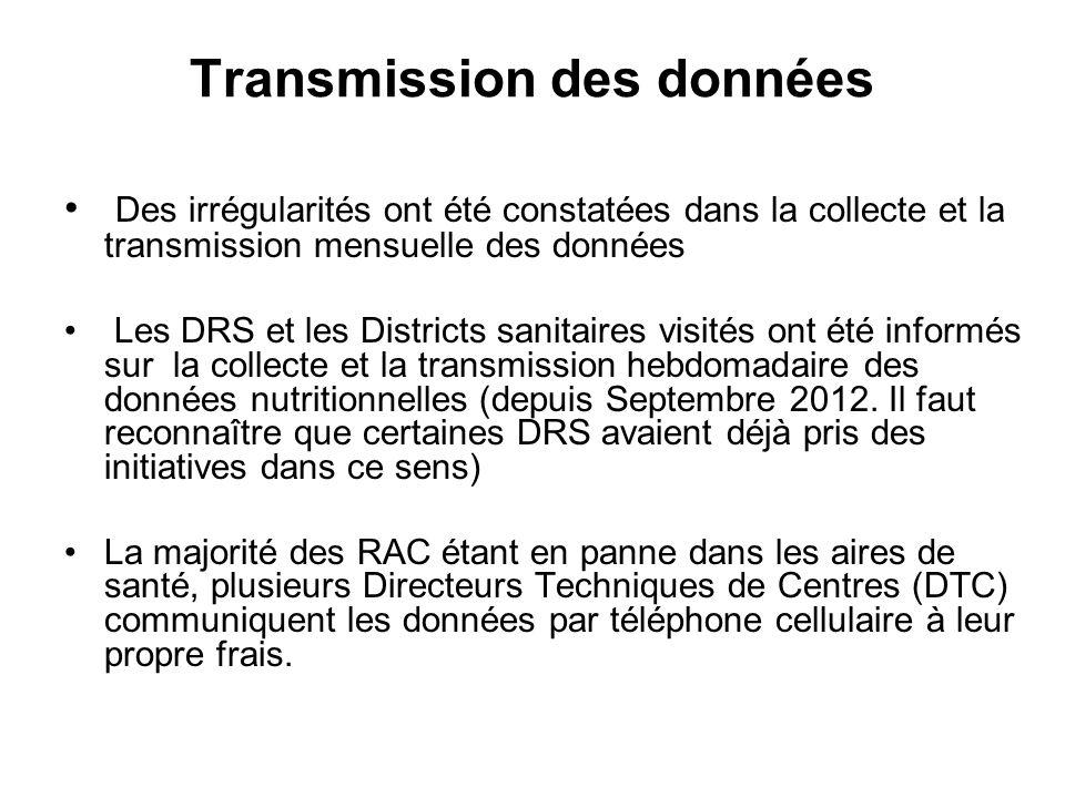 Transmission des données Des irrégularités ont été constatées dans la collecte et la transmission mensuelle des données Les DRS et les Districts sanitaires visités ont été informés sur la collecte et la transmission hebdomadaire des données nutritionnelles (depuis Septembre 2012.
