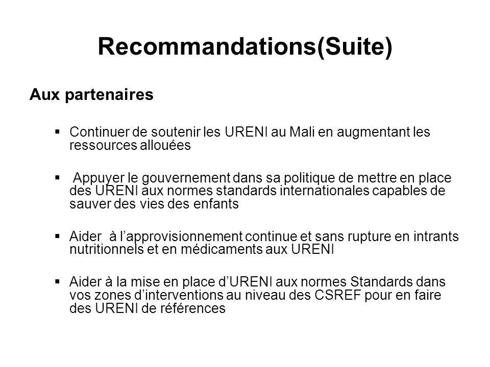 Recommandations(Suite) Aux partenaires Continuer de soutenir les URENI au Mali en augmentant les ressources allouées Appuyer le gouvernement dans sa politique de mettre en place des URENI aux normes standards internationales capables de sauver des vies des enfants Aider à lapprovisionnement continue et sans rupture en intrants nutritionnels et en médicaments aux URENI Aider à la mise en place dURENI aux normes Standards dans vos zones dinterventions au niveau des CSREF pour en faire des URENI de références
