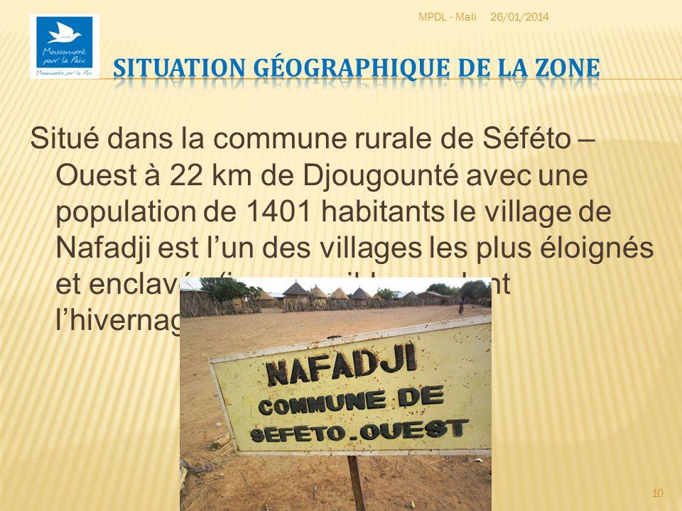 Situé dans la commune rurale de Séféto – Ouest à 22 km de Djougounté avec une population de 1401 habitants le village de Nafadji est lun des villages