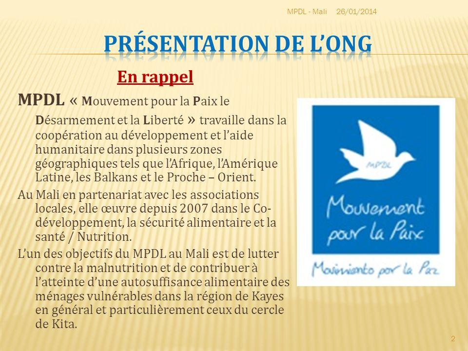 En rappel MPDL « Mouvement pour la Paix le Désarmement et la Liberté » travaille dans la coopération au développement et laide humanitaire dans plusie