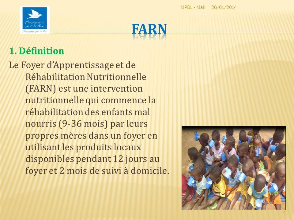 1. Définition Le Foyer dApprentissage et de Réhabilitation Nutritionnelle (FARN) est une intervention nutritionnelle qui commence la réhabilitation de
