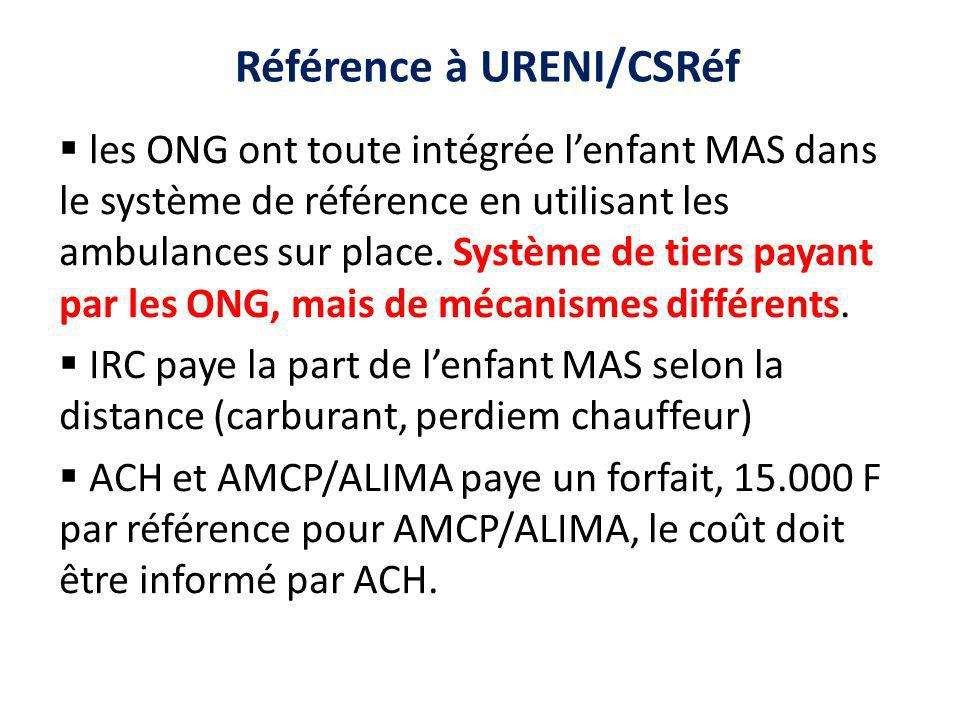 Référence à URENI/CSRéf les ONG ont toute intégrée lenfant MAS dans le système de référence en utilisant les ambulances sur place.