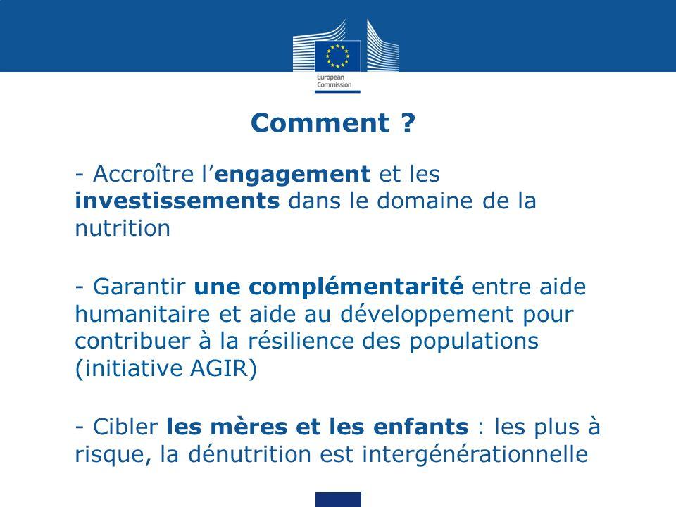 - Approche multisectorielle : sauver des vies, faire face aux causes multiples de la dénutrition et améliorer la sécurité alimentaire et nutritionnelle Comment ?