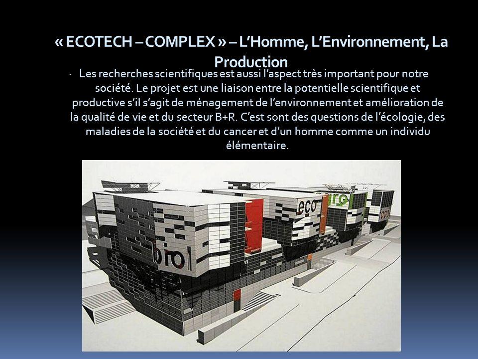 « ECOTECH – COMPLEX » – LHomme, LEnvironnement, La Production · Les recherches scientifiques est aussi laspect très important pour notre société.