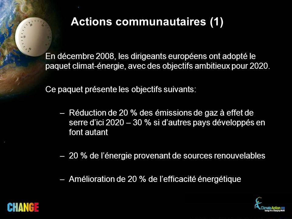 En décembre 2008, les dirigeants européens ont adopté le paquet climat-énergie, avec des objectifs ambitieux pour 2020. Ce paquet présente les objecti