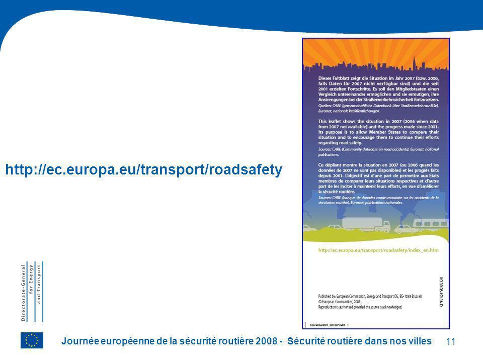 11 Journée européenne de la sécurité routière 2008 - Sécurité routière dans nos villes http://ec.europa.eu/transport/roadsafety