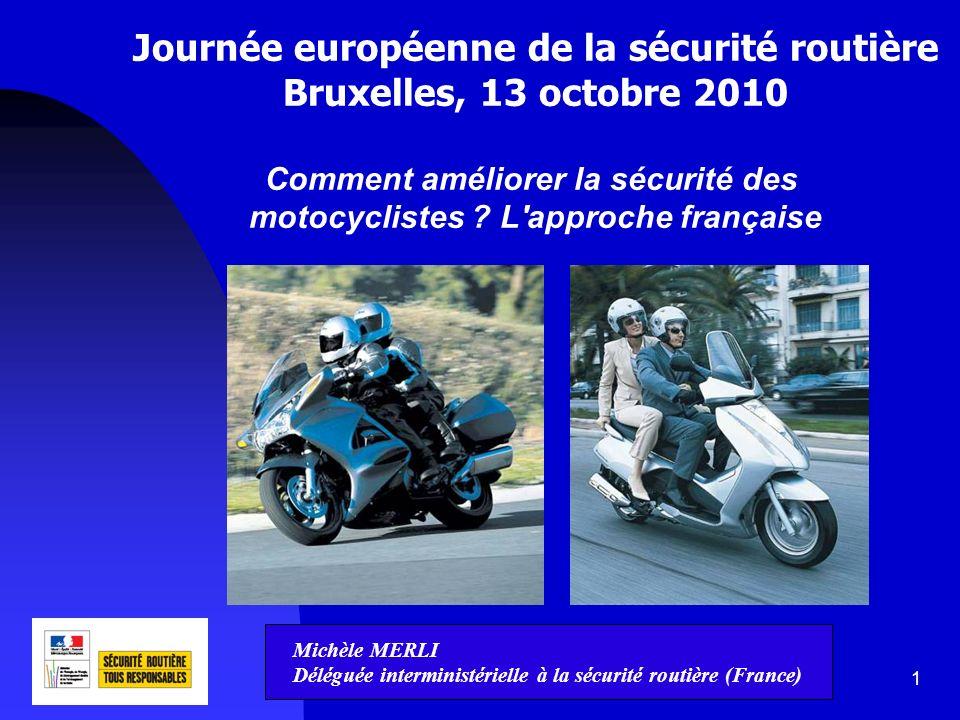 2 La situation en France Motocyclettes et cyclomoteurs = 2% du trafic 28% des morts 1/3 des morts en milieu urbain – 2/3 en milieu rural 2/3 des blessés en milieu urbain – 1/3 en milieu rural Diversification du parc : motos, scooters, customs, 3 roues Utilisation : de la moto loisir à la moto fonctionnelle (ville) Le risque d être tué est 23 fois plus élevé qu en voiture ; en 2009, 1187 conducteurs de 2RM ont été tués