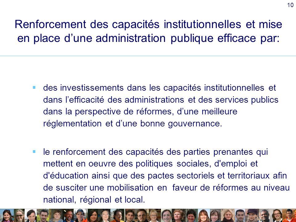 10 Renforcement des capacités institutionnelles et mise en place dune administration publique efficace par: des investissements dans les capacités institutionnelles et dans lefficacité des administrations et des services publics dans la perspective de réformes, dune meilleure réglementation et dune bonne gouvernance.