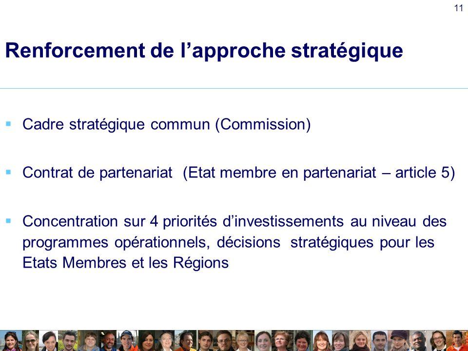 11 Renforcement de lapproche stratégique Cadre stratégique commun (Commission) Contrat de partenariat (Etat membre en partenariat – article 5) Concentration sur 4 priorités dinvestissements au niveau des programmes opérationnels, décisions stratégiques pour les Etats Membres et les Régions