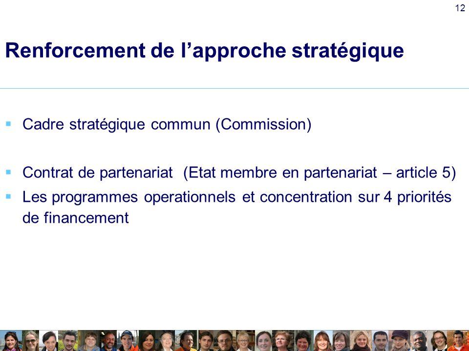 12 Renforcement de lapproche stratégique Cadre stratégique commun (Commission) Contrat de partenariat (Etat membre en partenariat – article 5) Les programmes operationnels et concentration sur 4 priorités de financement