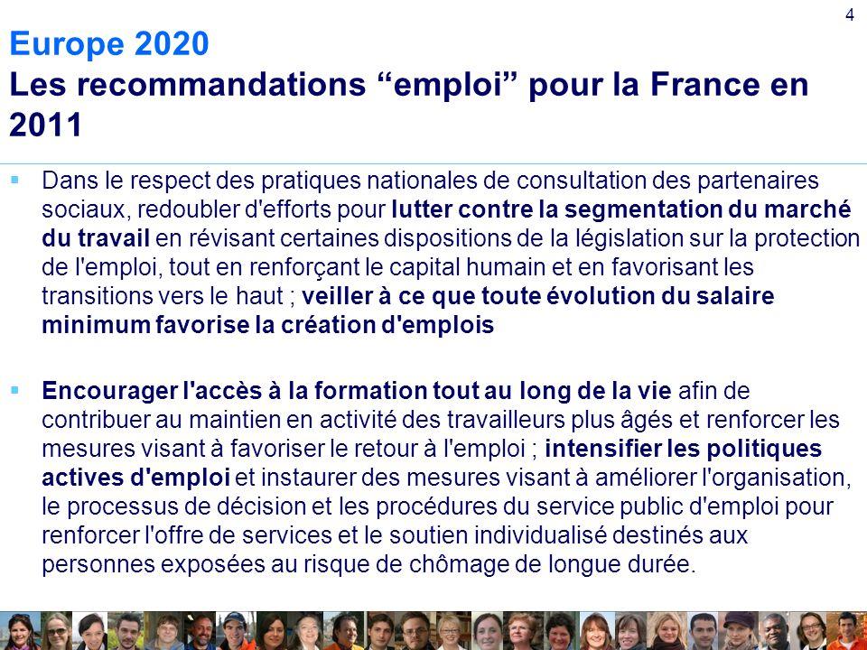 4 Europe 2020 Les recommandations emploi pour la France en 2011 Dans le respect des pratiques nationales de consultation des partenaires sociaux, redoubler d efforts pour lutter contre la segmentation du marché du travail en révisant certaines dispositions de la législation sur la protection de l emploi, tout en renforçant le capital humain et en favorisant les transitions vers le haut ; veiller à ce que toute évolution du salaire minimum favorise la création d emplois Encourager l accès à la formation tout au long de la vie afin de contribuer au maintien en activité des travailleurs plus âgés et renforcer les mesures visant à favoriser le retour à l emploi ; intensifier les politiques actives d emploi et instaurer des mesures visant à améliorer l organisation, le processus de décision et les procédures du service public d emploi pour renforcer l offre de services et le soutien individualisé destinés aux personnes exposées au risque de chômage de longue durée.