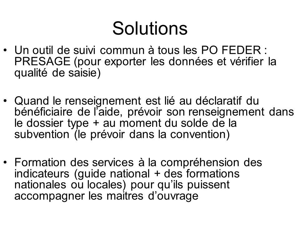 Solutions Un outil de suivi commun à tous les PO FEDER : PRESAGE (pour exporter les données et vérifier la qualité de saisie) Quand le renseignement e