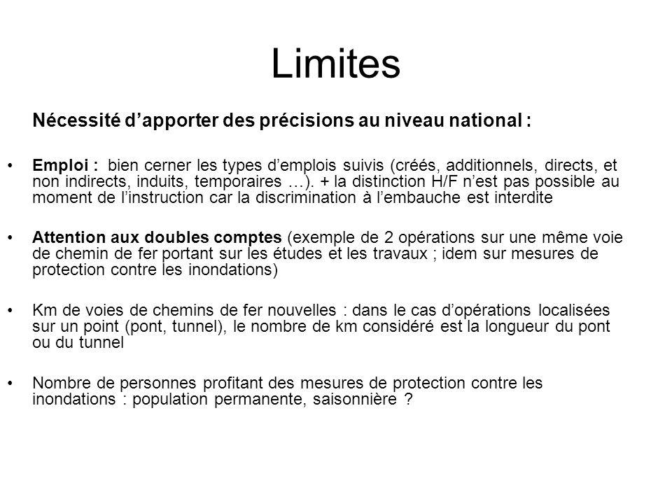 Limites Nécessité dapporter des précisions au niveau national : Emploi : bien cerner les types demplois suivis (créés, additionnels, directs, et non i
