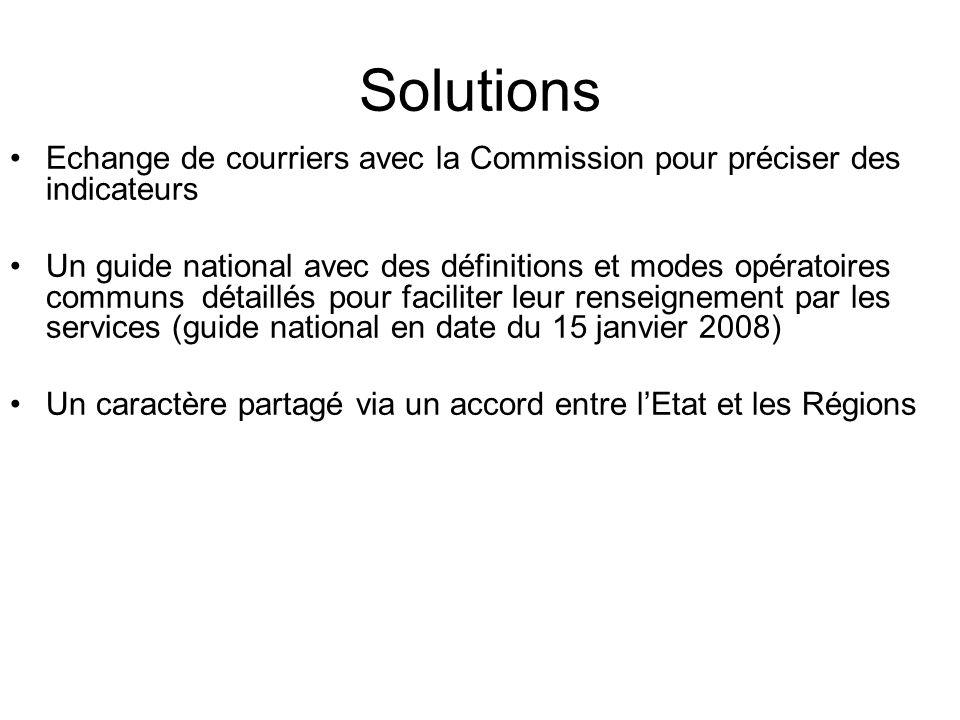 Solutions Echange de courriers avec la Commission pour préciser des indicateurs Un guide national avec des définitions et modes opératoires communs dé