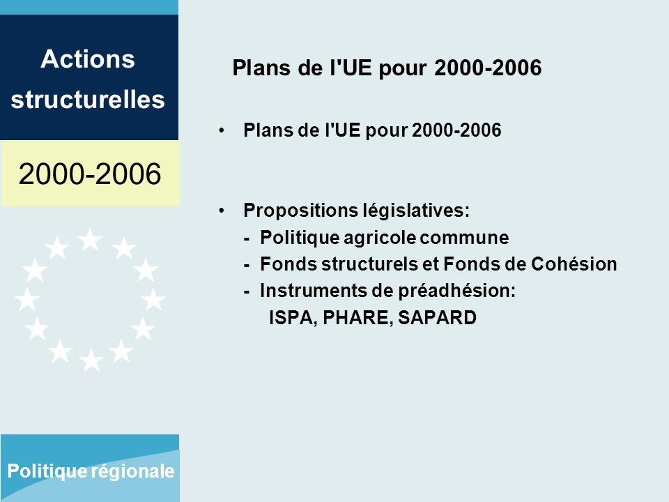 2000-2006 Actions structurelles Politique régionale Plans de l UE pour 2000-2006 Propositions législatives: - Politique agricole commune - Fonds structurels et Fonds de Cohésion - Instruments de préadhésion: ISPA, PHARE, SAPARD