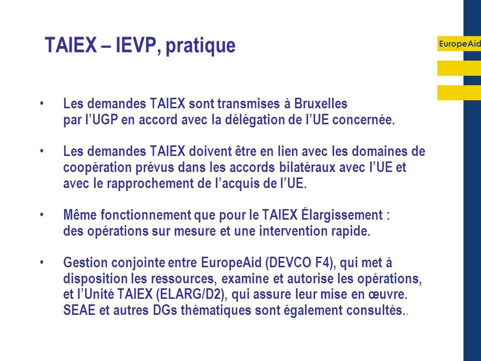 EuropeAid TAIEX – IEVP, pratique Les demandes TAIEX sont transmises à Bruxelles par lUGP en accord avec la délégation de lUE concernée. Les demandes T