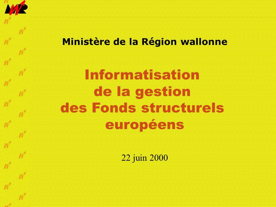 Juin 2000page 1 Informatisation de la gestion des Fonds structurels européens Ministère de la Région wallonne Informatisation de la gestion des Fonds structurels européens 22 juin 2000