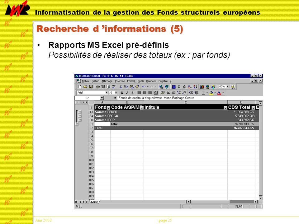Juin 2000page 25 Informatisation de la gestion des Fonds structurels européens Recherche d informations (5) Rapports MS Excel pré-définis Possibilités de réaliser des totaux (ex : par fonds)