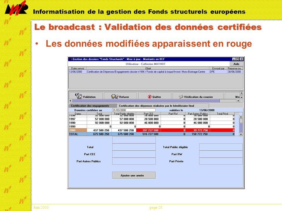 Juin 2000page 28 Informatisation de la gestion des Fonds structurels européens Le broadcast : Validation des données certifiées Les données modifiées apparaissent en rouge