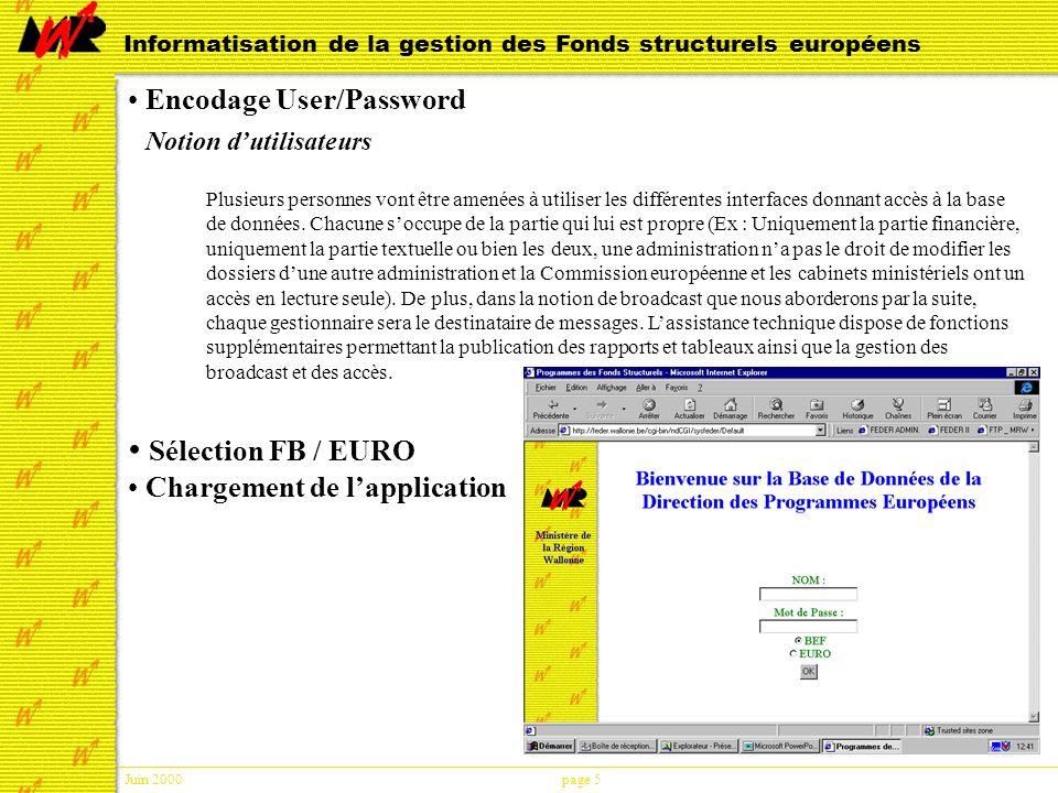 Juin 2000page 6 Informatisation de la gestion des Fonds structurels européens L application Quitter Consultation Broadcast Recherche Demandes Consolidation Aide en ligne
