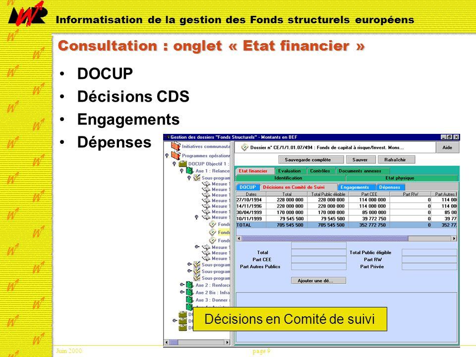 Juin 2000page 9 Informatisation de la gestion des Fonds structurels européens Consultation : onglet « Etat financier » DOCUP Décisions CDS Engagements Dépenses Décisions en Comité de suivi