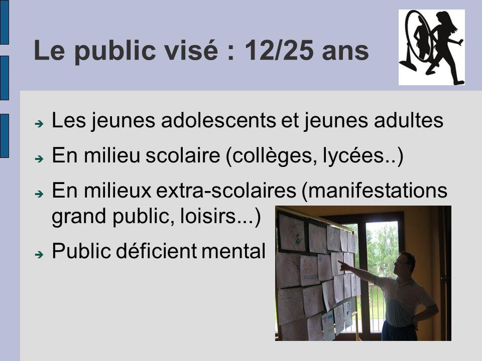 Le public visé : 12/25 ans Les jeunes adolescents et jeunes adultes En milieu scolaire (collèges, lycées..) En milieux extra-scolaires (manifestations