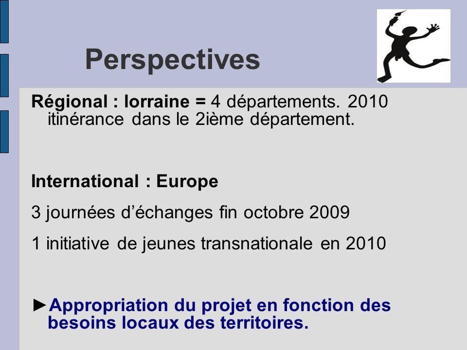 Perspectives Régional : lorraine = 4 départements. 2010 itinérance dans le 2ième département. International : Europe 3 journées déchanges fin octobre