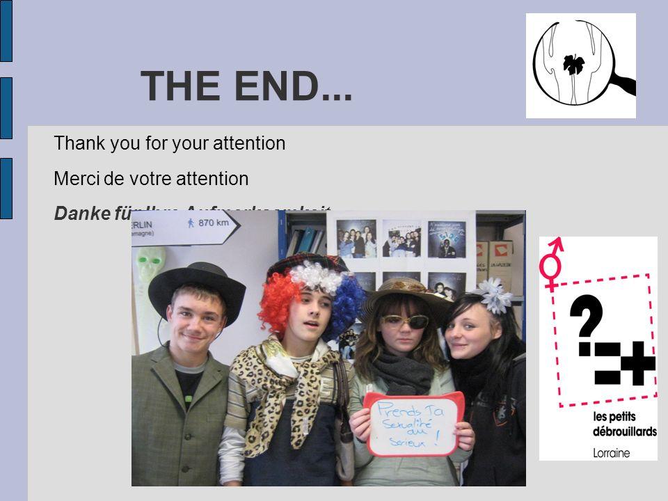 THE END... Thank you for your attention Merci de votre attention Danke für Ihre Aufmerksamkeit