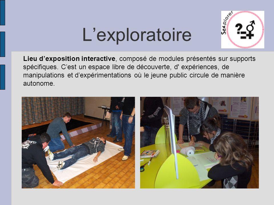 Lexploratoire Lieu dexposition interactive, composé de modules présentés sur supports spécifiques. Cest un espace libre de découverte, d' expériences,