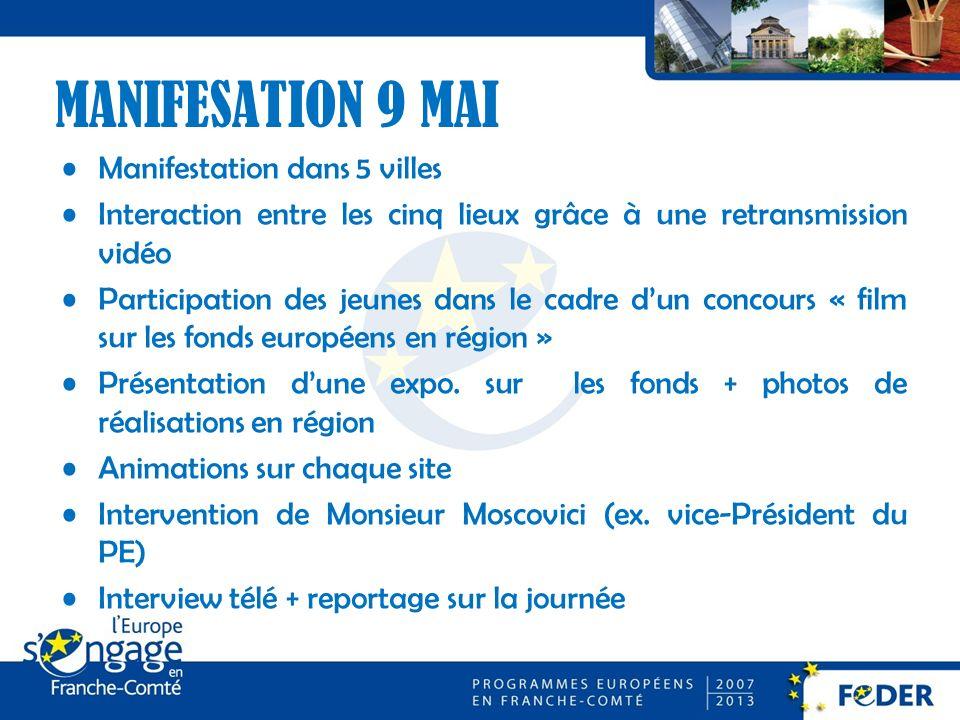 MANIFESATION 9 MAI Manifestation dans 5 villes Interaction entre les cinq lieux grâce à une retransmission vidéo Participation des jeunes dans le cadre dun concours « film sur les fonds européens en région » Présentation dune expo.