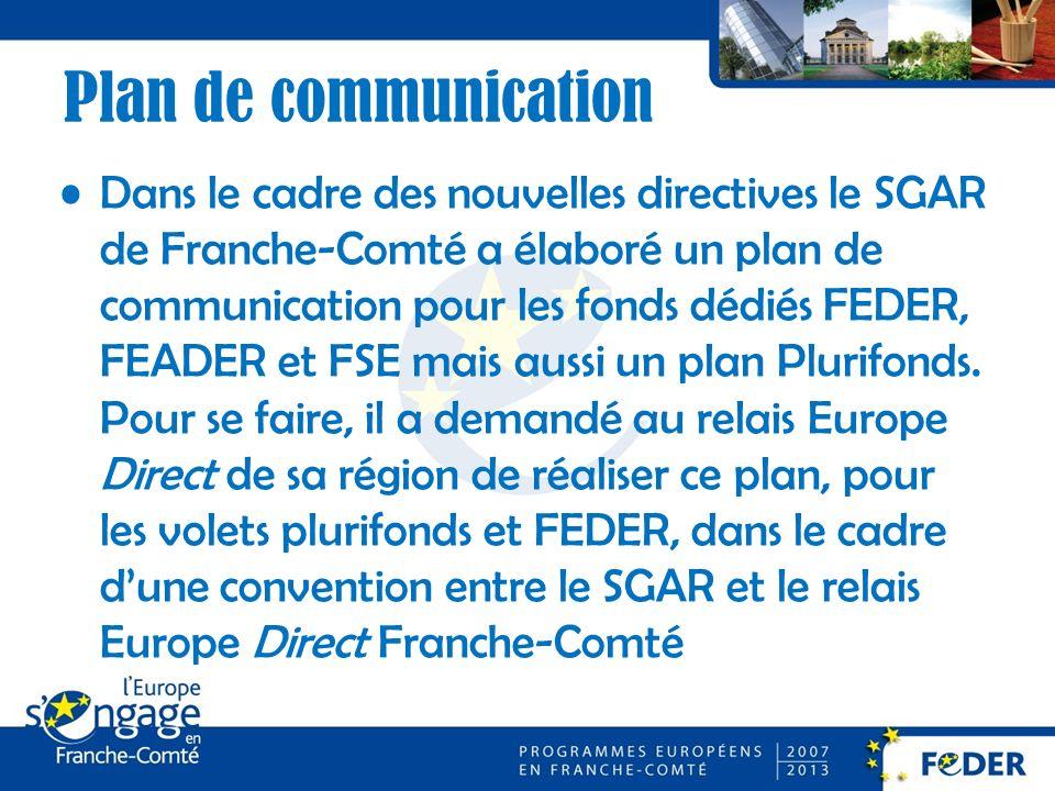 Plan de communication Dans le cadre des nouvelles directives le SGAR de Franche-Comté a élaboré un plan de communication pour les fonds dédiés FEDER, FEADER et FSE mais aussi un plan Plurifonds.