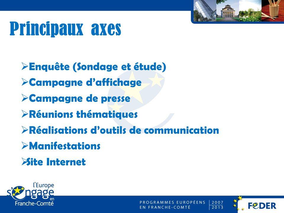 Principaux axes Enquête (Sondage et étude) Campagne daffichage Campagne de presse Réunions thématiques Réalisations doutils de communication Manifestations Site Internet