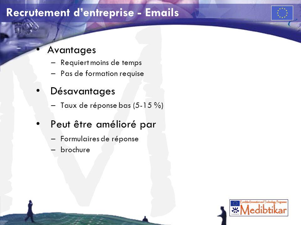 M Recrutement dentreprise - Emails Avantages –Requiert moins de temps –Pas de formation requise Désavantages –Taux de réponse bas (5-15 %) Peut être amélioré par –Formulaires de réponse –brochure