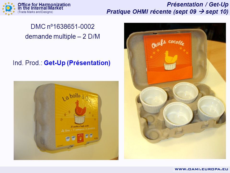 Office for Harmonization in the Internal Market (Trade Marks and Designs) Présentation / Get-Up Pratique OHMI récente (sept 09 sept 10) DMC nº1638651-0002 demande multiple – 2 D/M Ind.