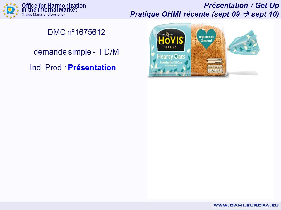 Office for Harmonization in the Internal Market (Trade Marks and Designs) Présentation / Get-Up Pratique OHMI récente (sept 09 sept 10) DMC nº1675612 demande simple - 1 D/M Ind.