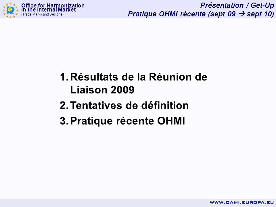 Office for Harmonization in the Internal Market (Trade Marks and Designs) Présentation / Get-Up Pratique OHMI récente (sept 09 sept 10) 1.Résultats de la Réunion de Liaison 2009 2.Tentatives de définition 3.Pratique récente OHMI
